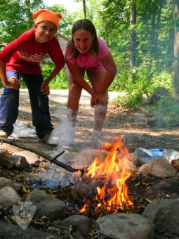 Kids building fire